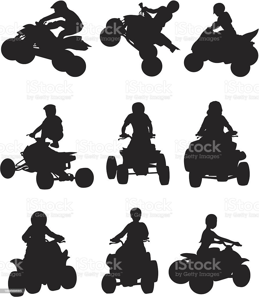 ATV biker in action vector art illustration