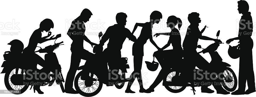 Biker youth vector art illustration