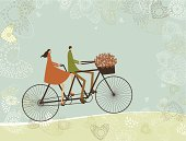 Couple of lovers cycling by tandem bike. Layered file for easy edition.