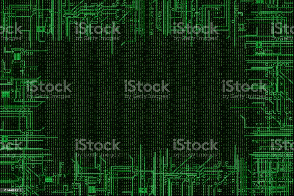 binary code background with computer circuit in border royalty free binary code background with