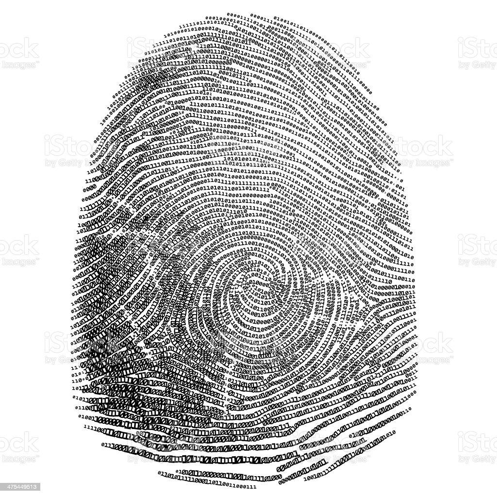 Binary fingerprint vector art illustration