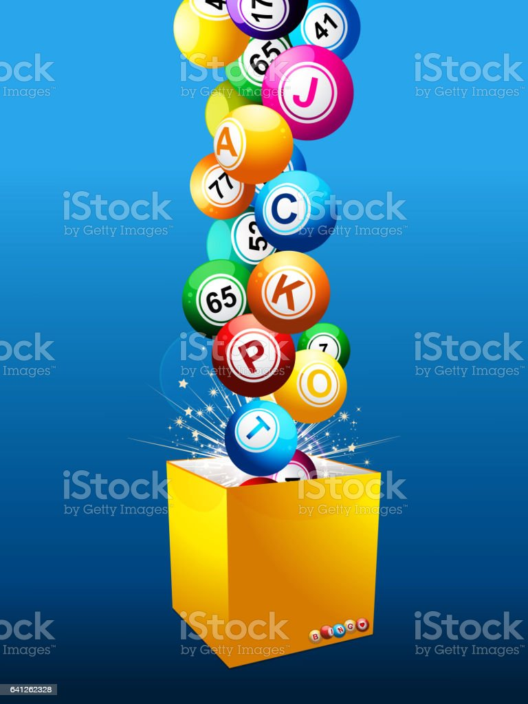 Bingo Jackpot balls on a box over blue background vector art illustration