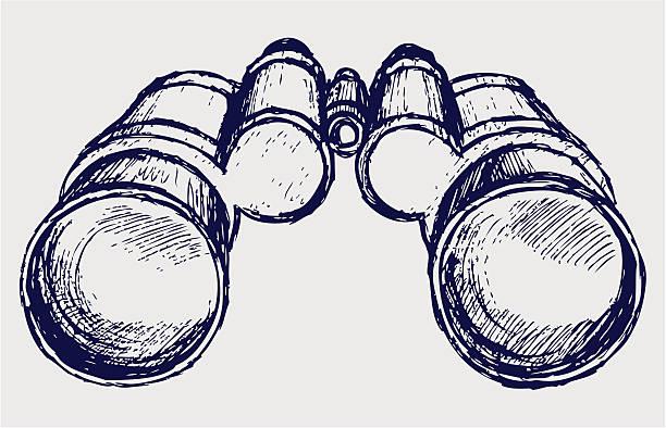 Binoculars sketch Binoculars sketch. Vector low scale magnification stock illustrations