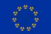 istock Biohazard symbuo on the EU flag 1249649469