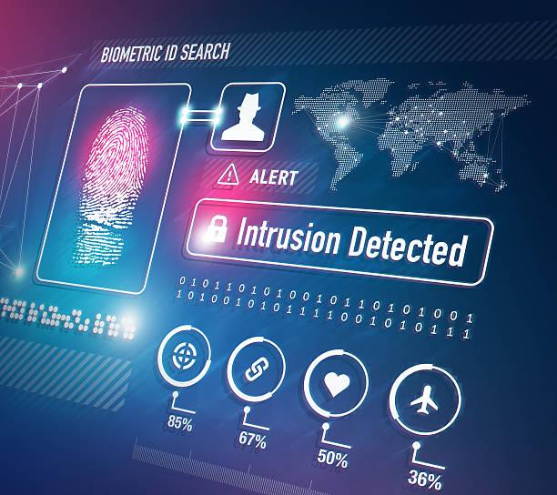 ilustraciones, imágenes clip art, dibujos animados e iconos de stock de biométrica tecnología de seguridad - robo de identidad