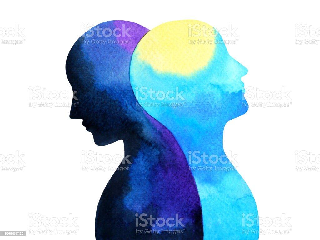 双極性障害の心メンタルヘルス接続水彩画イラスト手図面デザイン シンボル ベクターアートイラスト