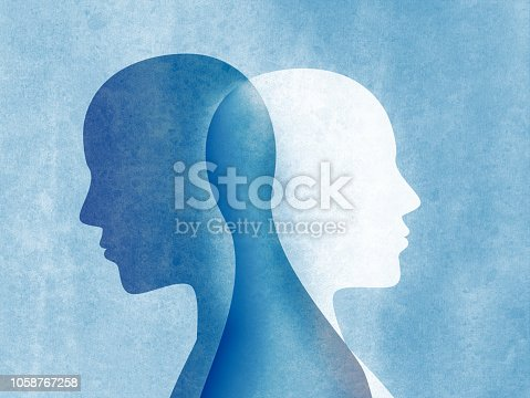Bipolar disorder concept with two silhouettes of man standing back and intersecting each other on a blue background