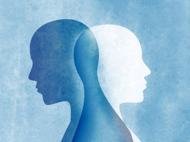 illustrazioni stock, clip art, cartoni animati e icone di tendenza di bipolar disorder mind mental. split personality. mood disorder. dual personality concept. silhouette on blue background - emozione