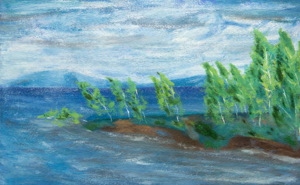 Birch on the shore of the lake Birch on the shore of the lake. Rainy weather. A strong wind tempera painting stock illustrations