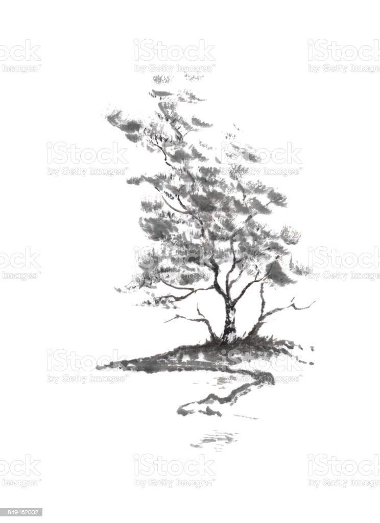 Ilustración de Árbol De Abedul De Río Banco Japonés Estilo Sumie ...