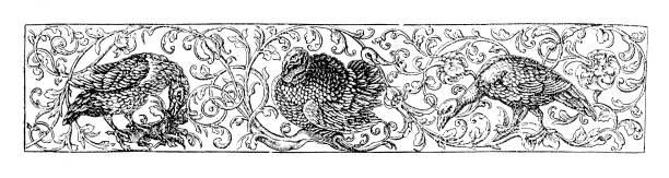 illustrations, cliparts, dessins animés et icônes de bloc de conception d'oiseau et de nature de 'english illustrated magazine' 1886 - enluminure bordure