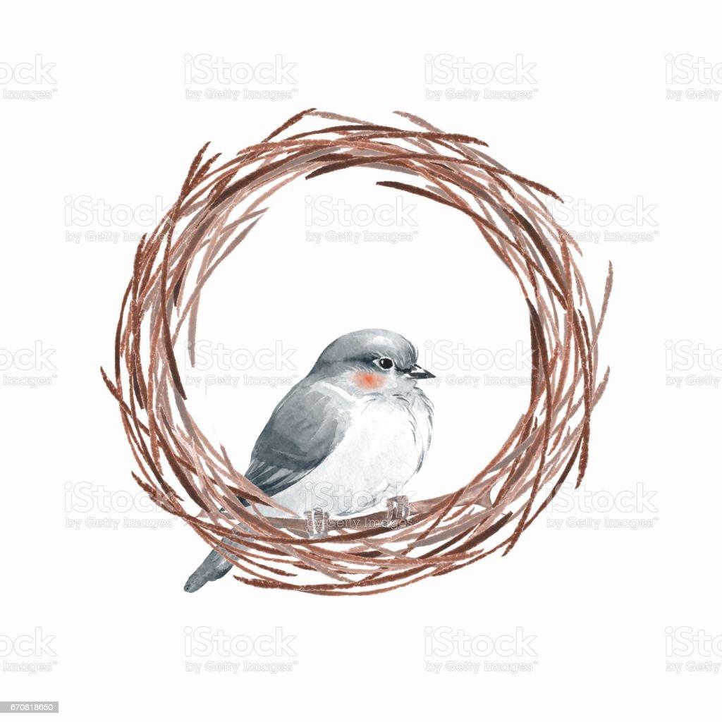 Bird and wreath vector art illustration