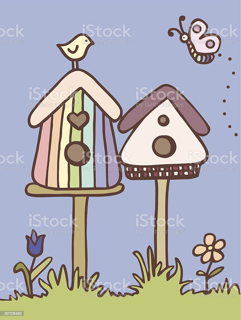 bird, butterfly, birdhouses and flowers royalty-free stock vector art