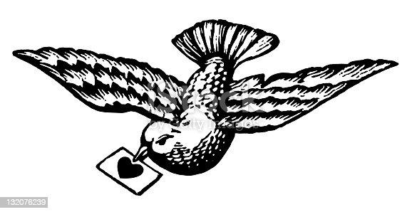 istock Bird Carrying Love Letter 132076239