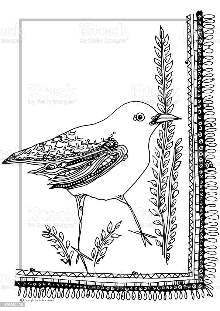 bird colouring book page vector art illustration