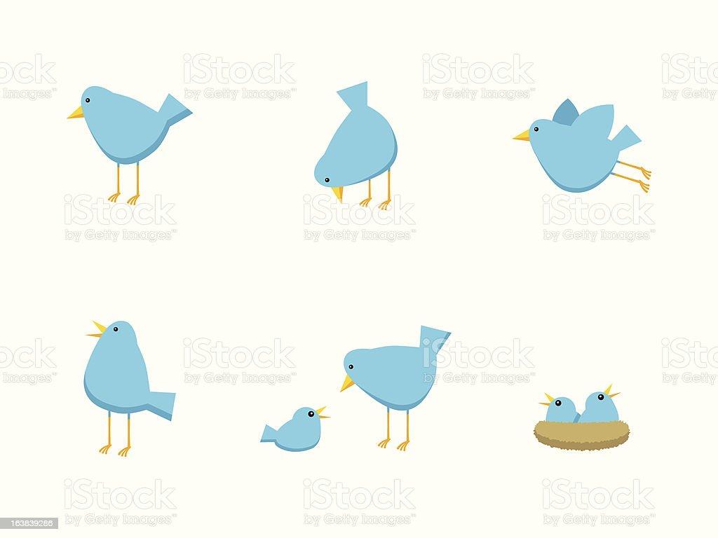 Bird Family Icons vector art illustration