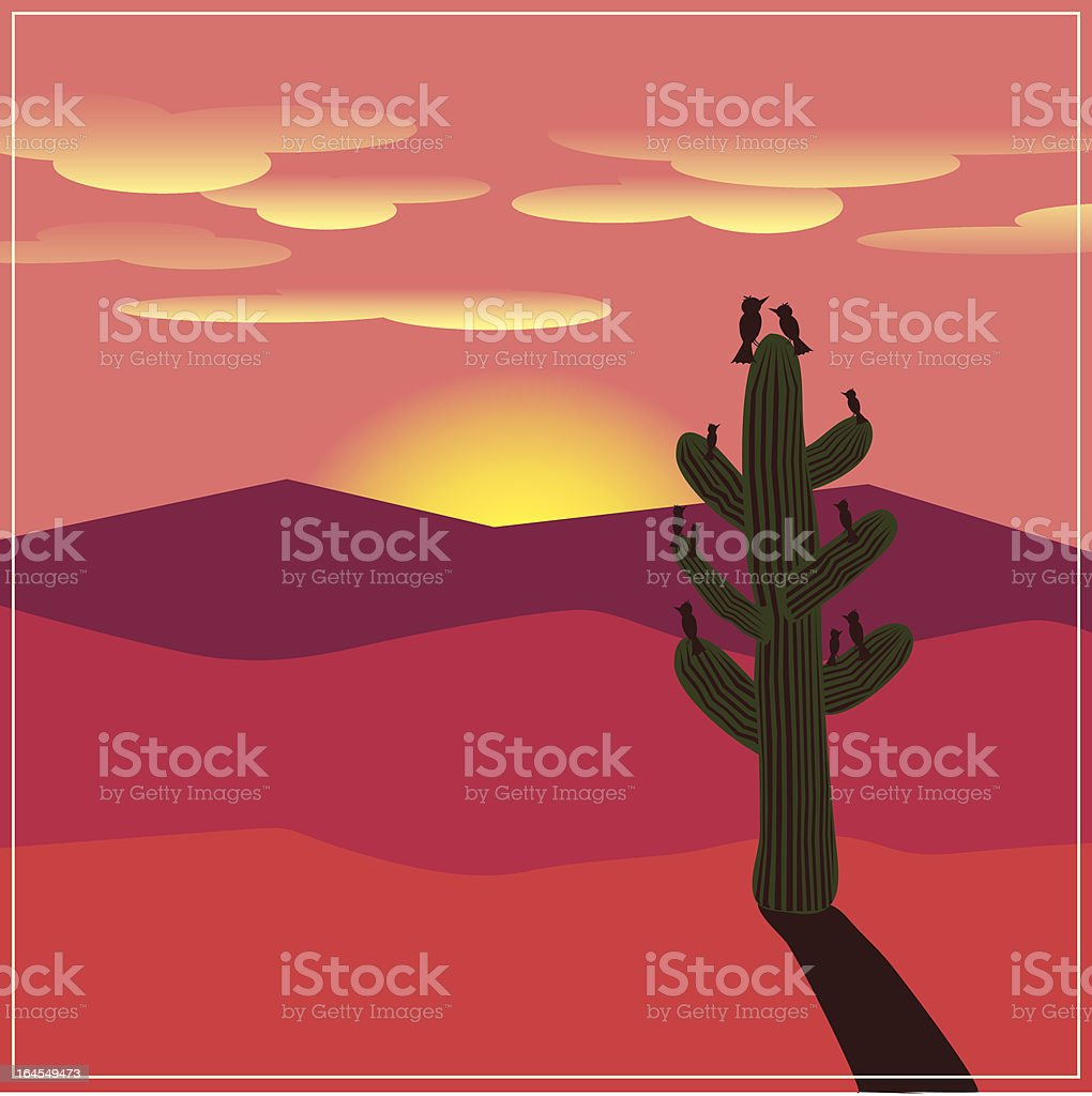 Bird Family in the Desert royalty-free stock vector art
