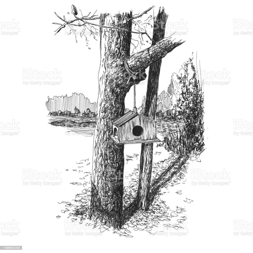 Bird feeder on a branch vector art illustration