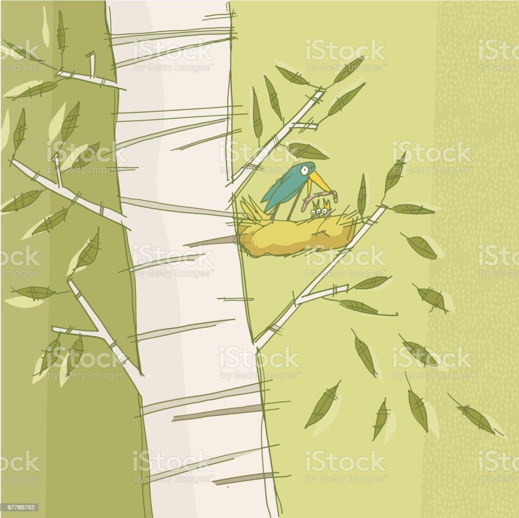 Bird feeding vector art illustration