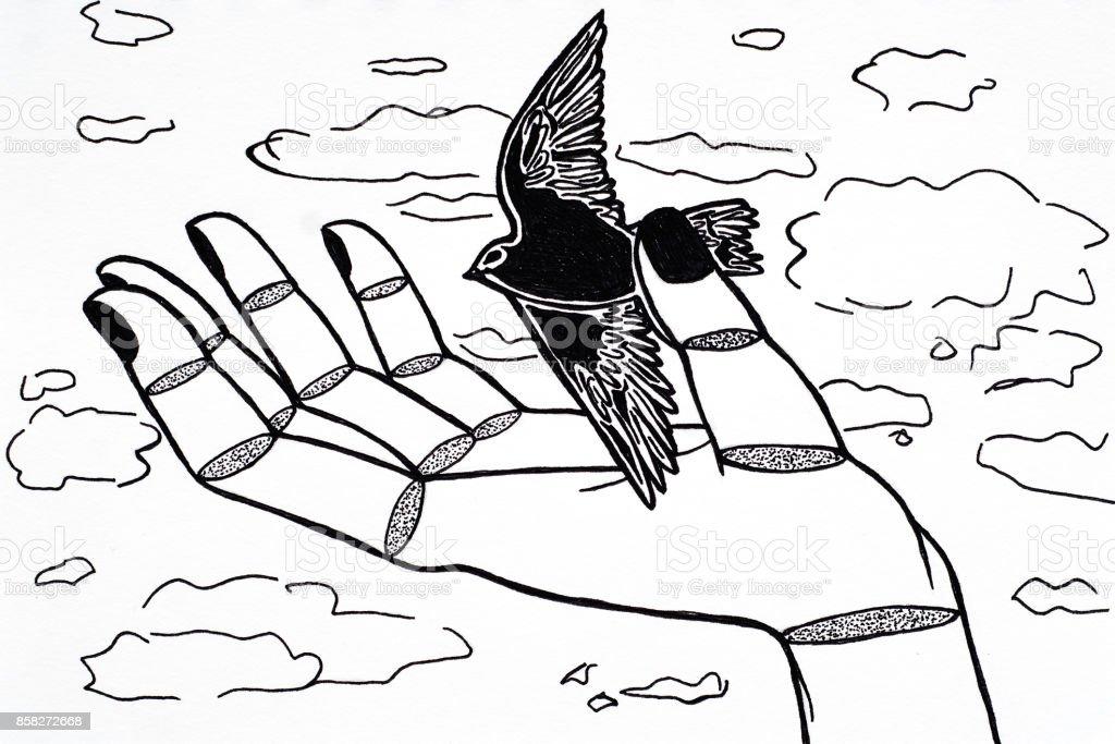 Bird in the hand vector art illustration