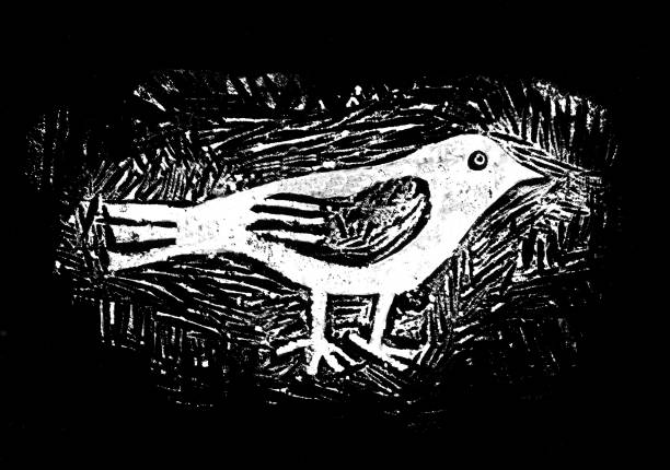 Bird, Linocut, Graphic Illustration, Print print, linocut, illustration, hand-made 300 dpi linocut stock illustrations