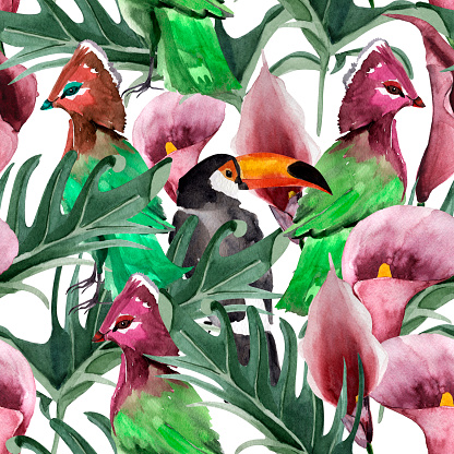 Bird of paradise in tropical forest watercolor seamless pattern.