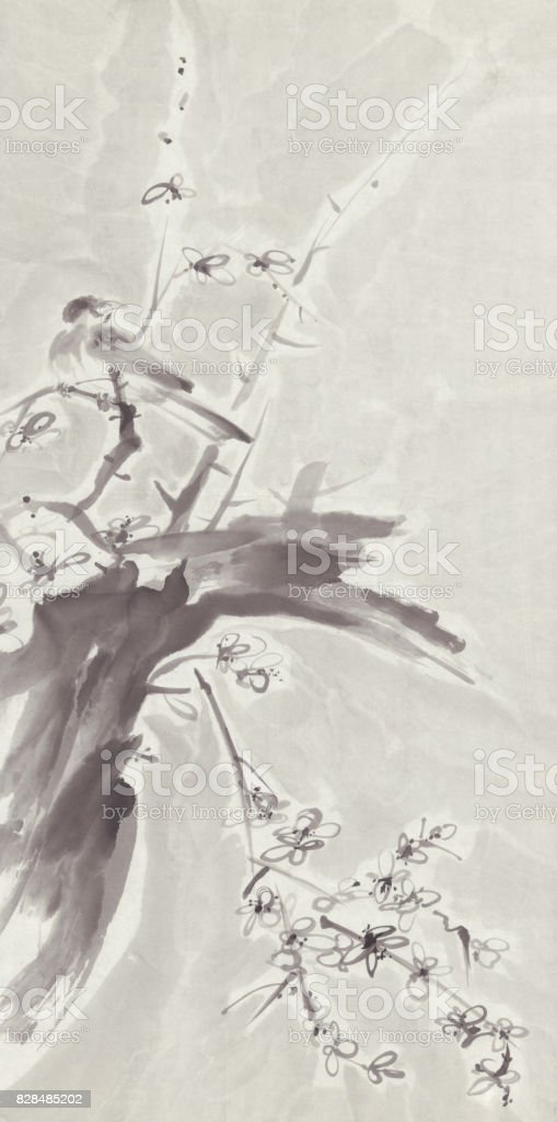 Bir Kiraz Ağacı Dalı Sumie Mürekkep Boyama Kuş Stok Vektör Sanatı