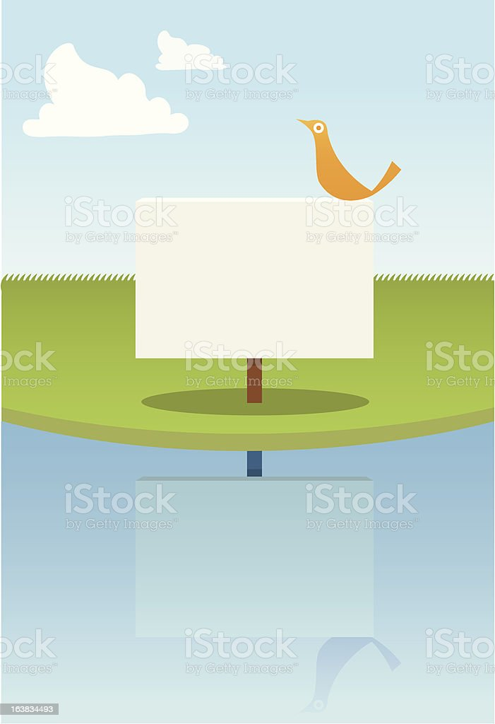 Bird on Sign royalty-free stock vector art