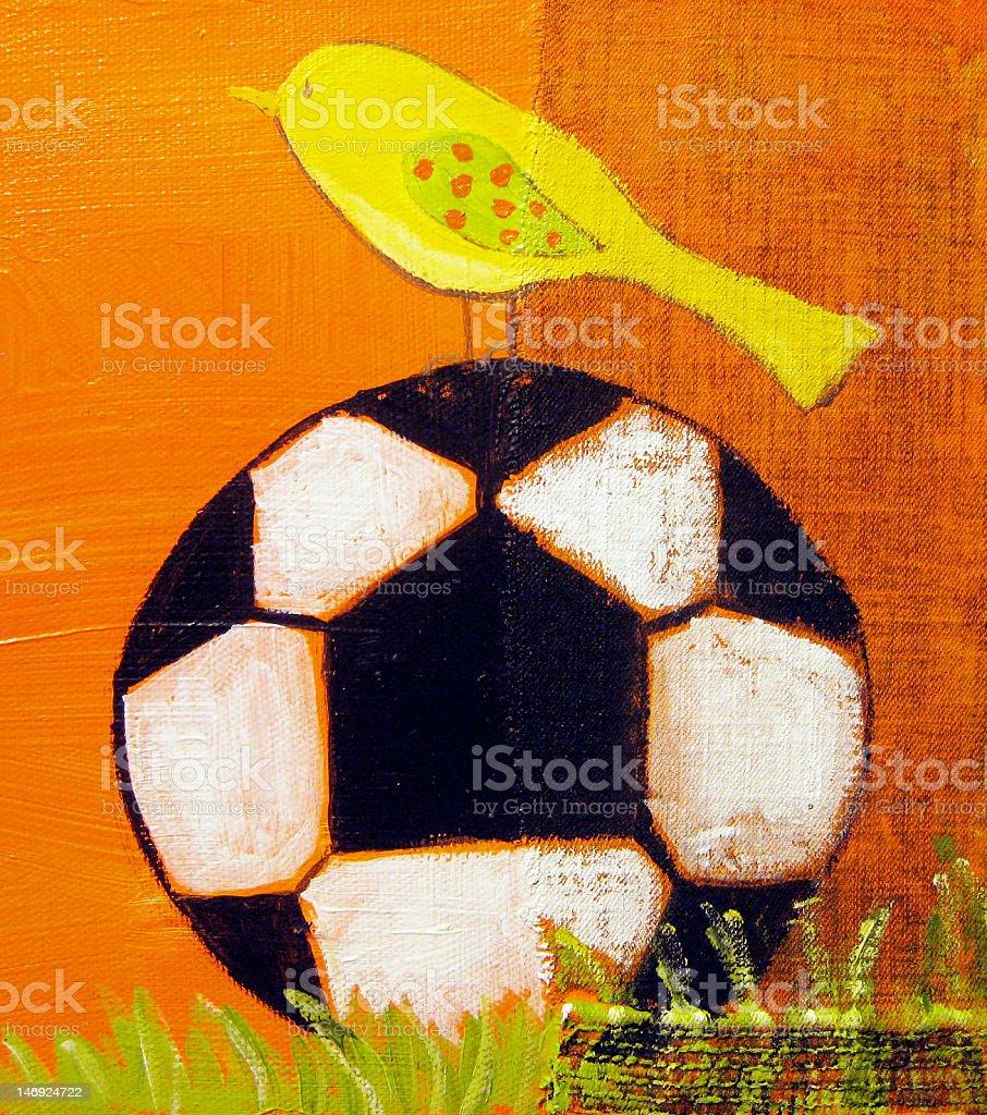 my original mixed media painting of a bird on soccer ball