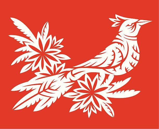 Vogel auf der flower – Vektorgrafik