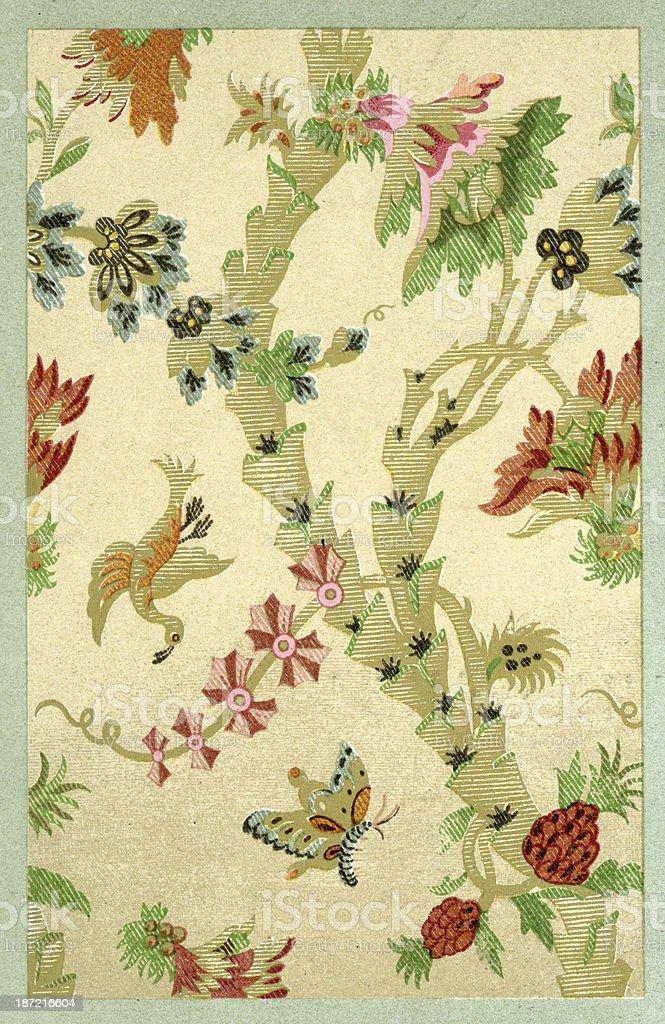 Bird Pattern - 17th Century vector art illustration