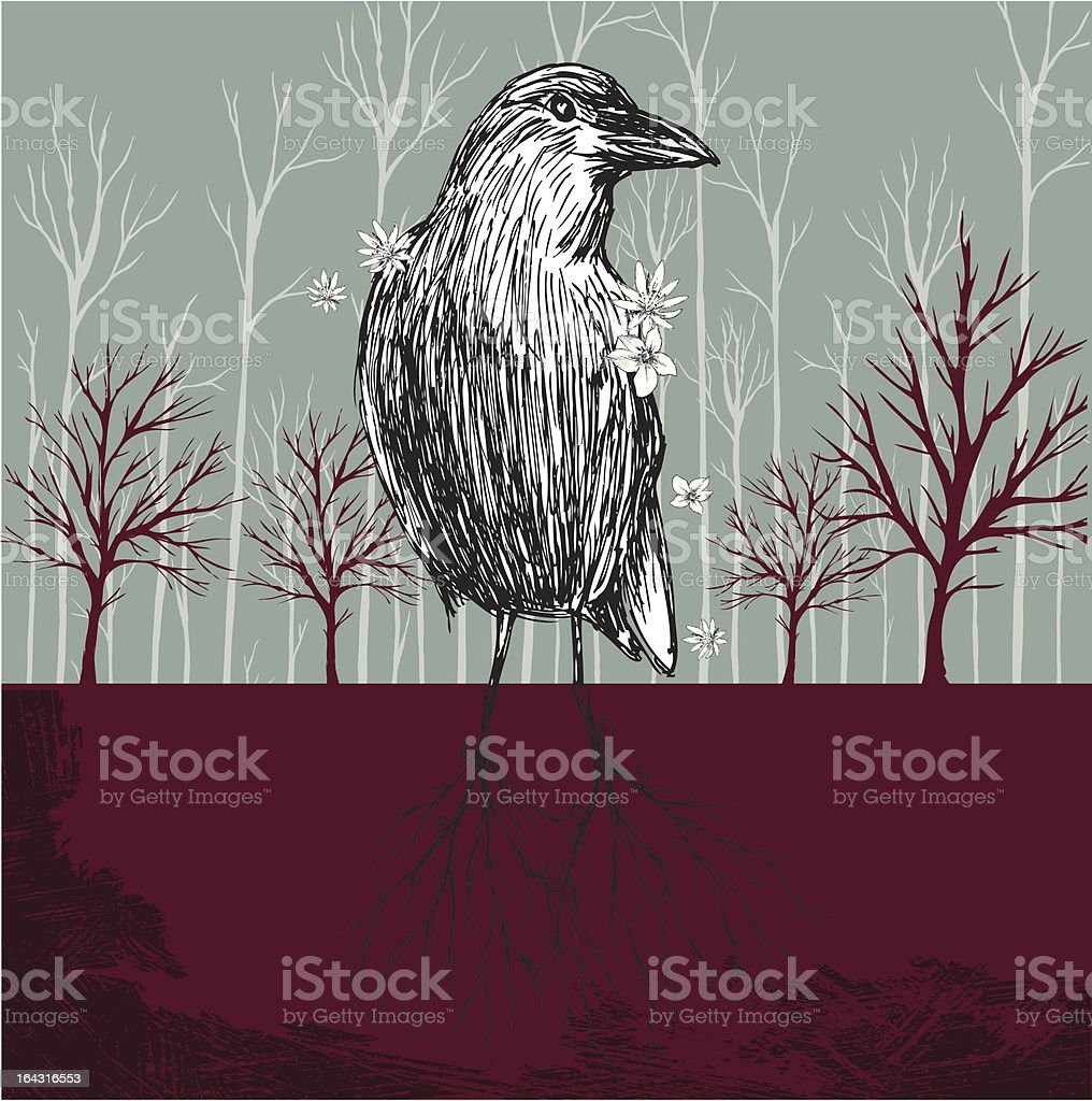 Bird With Roots royalty-free stock vector art