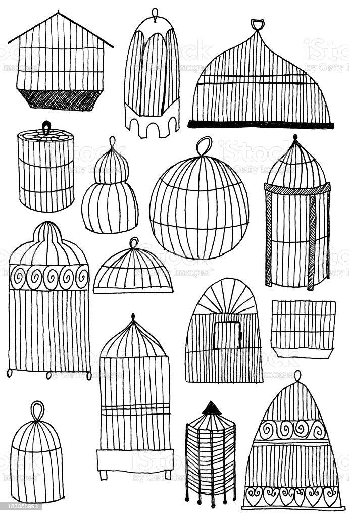 Birdcage doodles royalty-free stock vector art