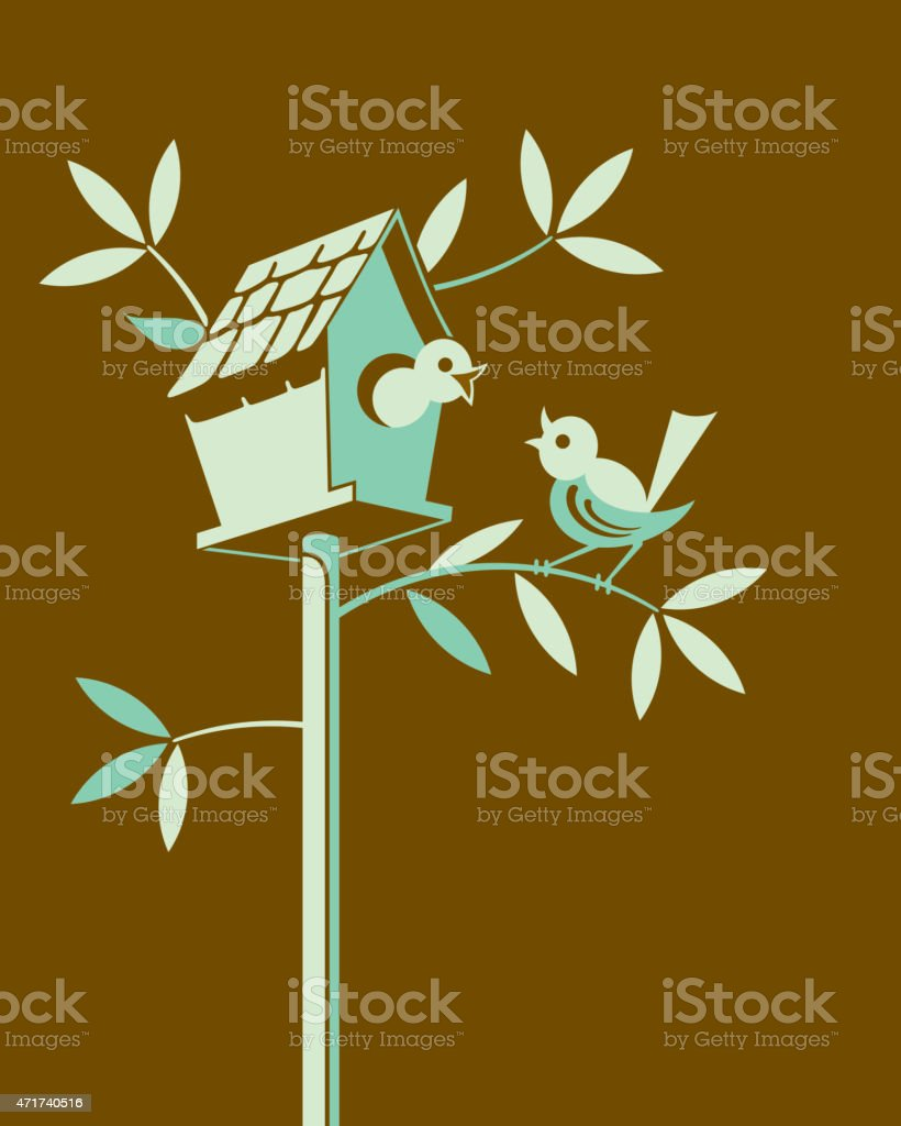Birdhouse on Brown Background vector art illustration