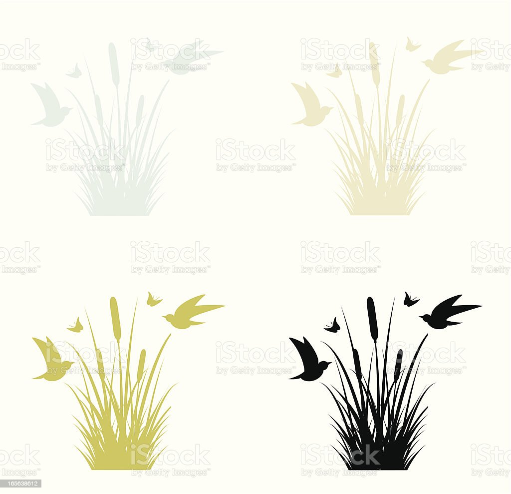 Birds and Reeds vector art illustration