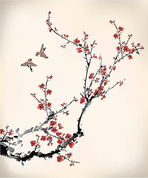 birds and winter sweet birds and winter sweet plum blossom stock illustrations