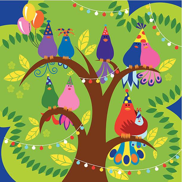 鳥、木のお祝い - ガーデンパーティ点のイラスト素材/クリップアート素材/マンガ素材/アイコン素材