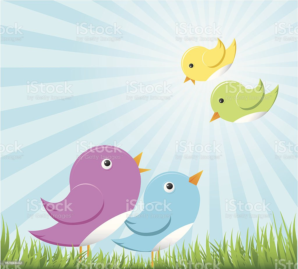 birds family vector art illustration