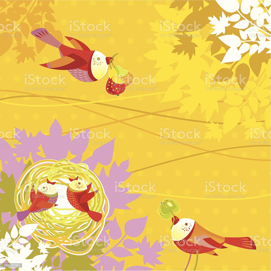 Birds Family in the Autumn royalty-free stock vector art