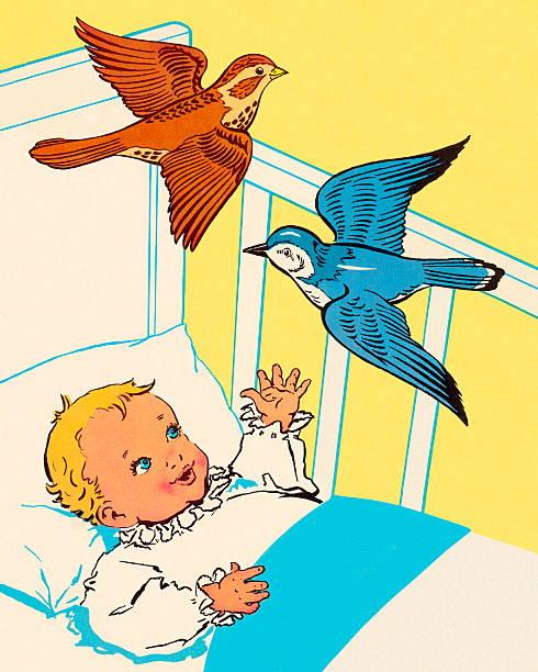 stockillustraties, clipart, cartoons en iconen met birds flying over baby's crib - alleen één jongensbaby