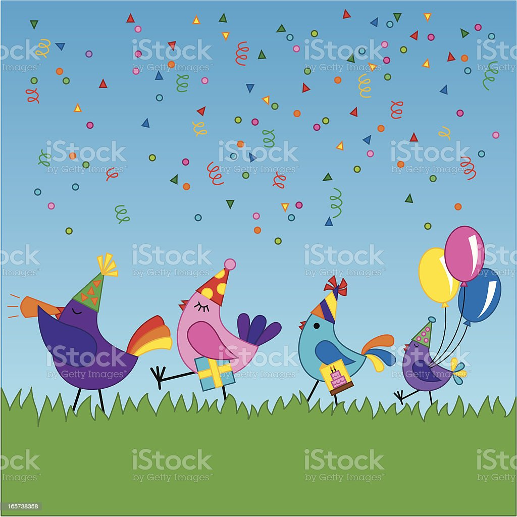 Birds going to a birthday party royalty-free stock vector art