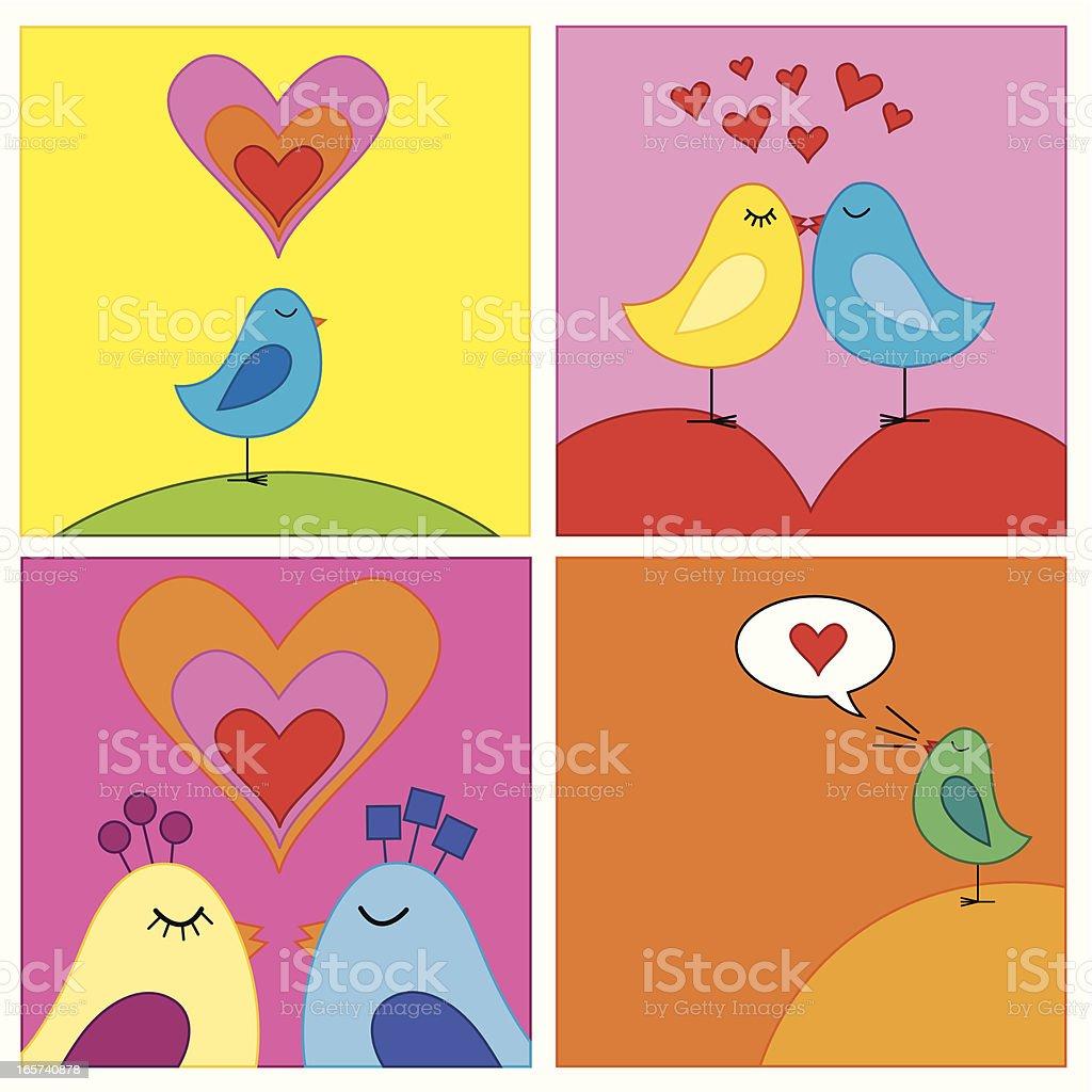 Birds in love vector art illustration