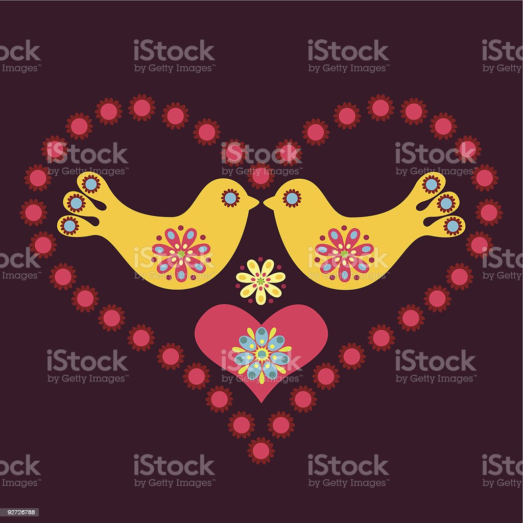 Birds in Love vector art illustration