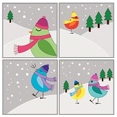 Set of 4 vector illustrations of birds in winter.