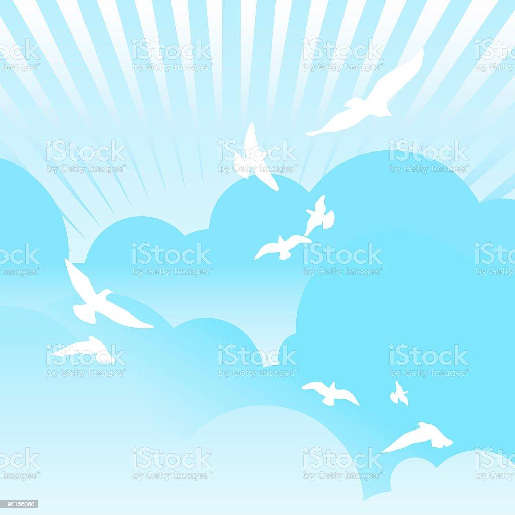 Birds of hope vector art illustration