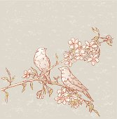 The vector drawing of a two birds on a blooming branch.