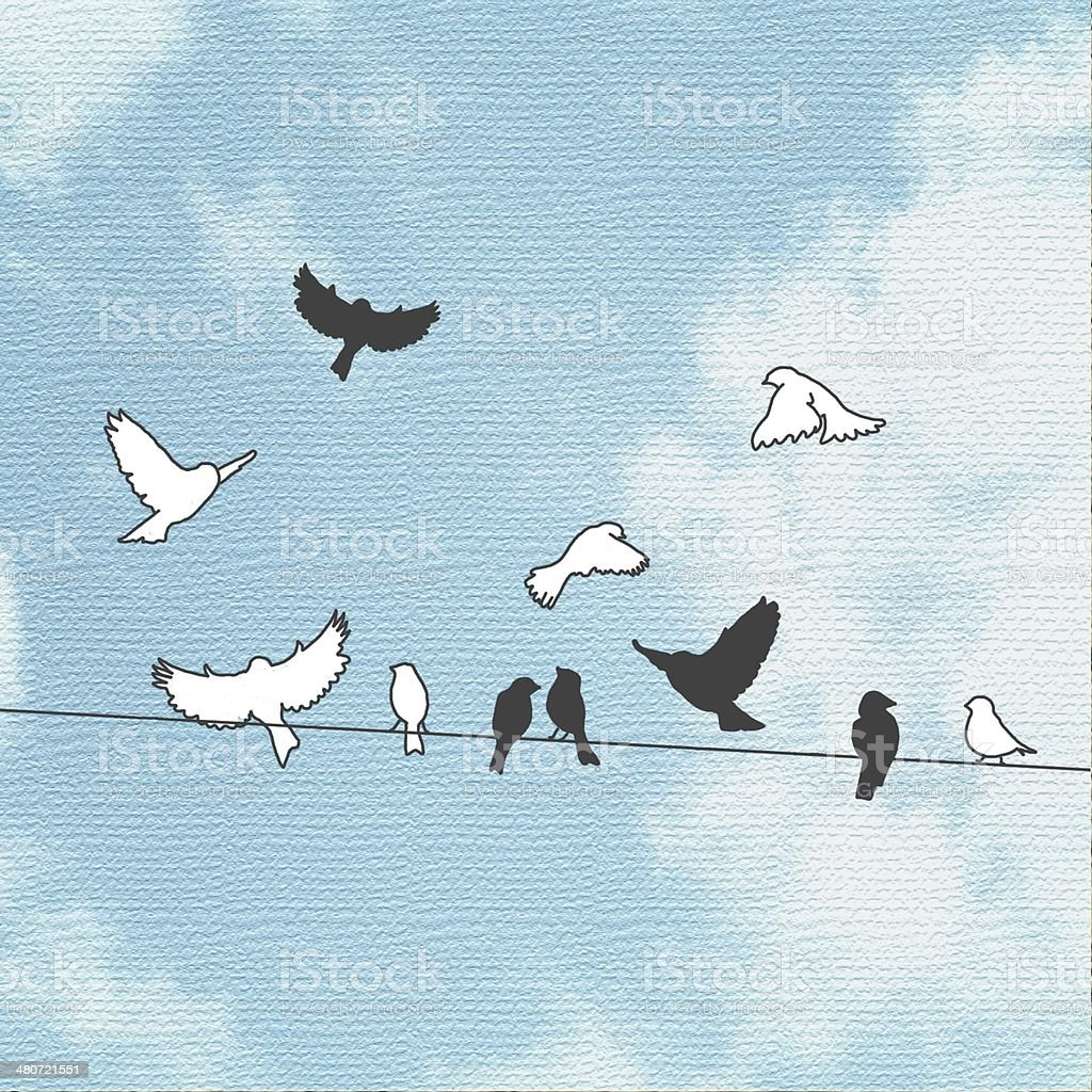 Birds on a wire with sky background vector art illustration
