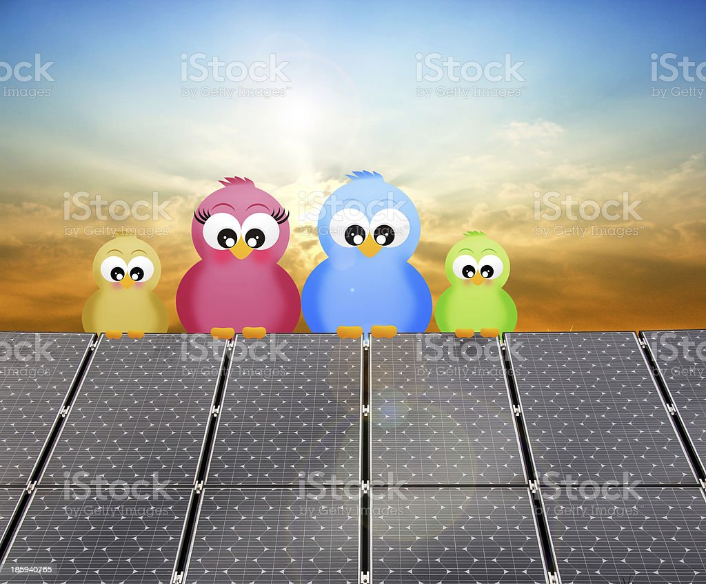 birds on the solar panel royalty-free stock vector art