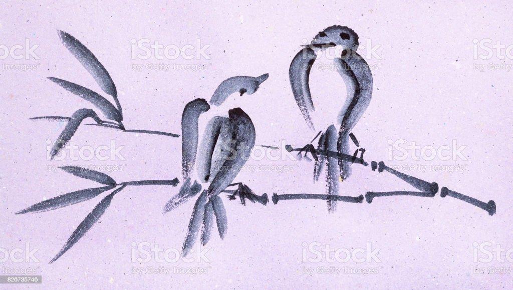 Dal Pembe Renkli Kağıt üzerinde Kuşlar Stok Vektör Sanatı Ağaç