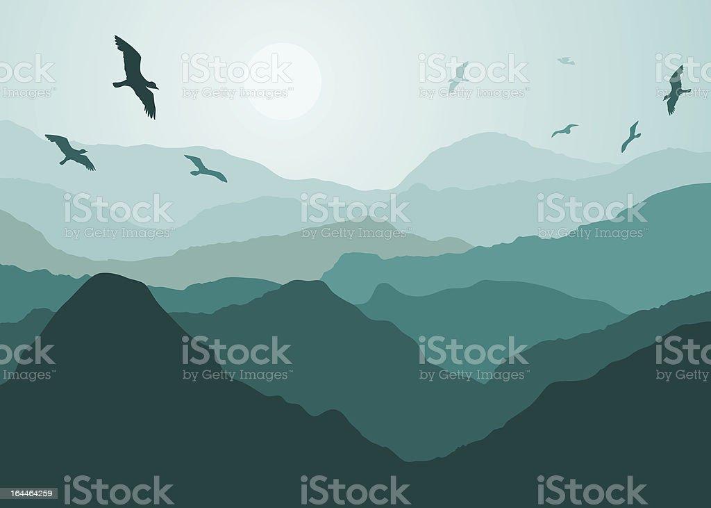 Birds over the mountain landskape royalty-free stock vector art